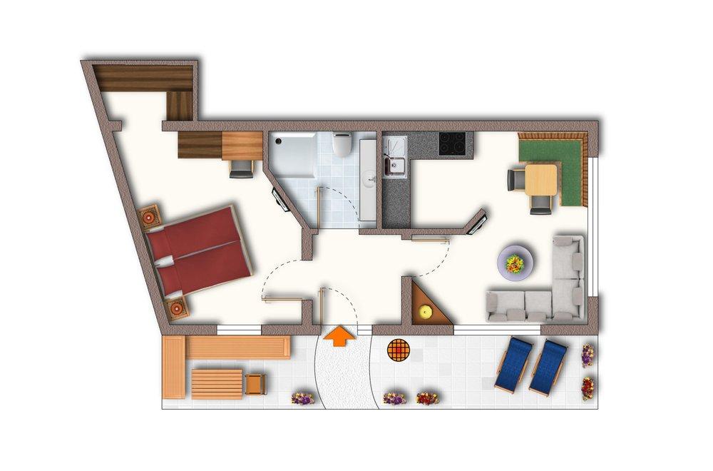 Grundriss Apartment Gänseblümchen