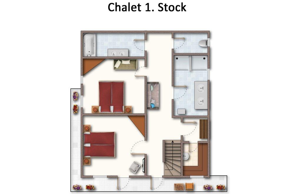 Grundriss Chalet Dorfbäck 1. Stock
