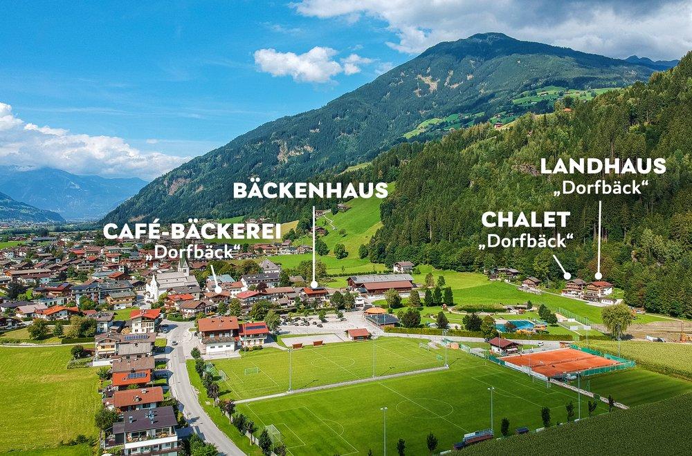 Ansicht von Stumm mit markierten Häusern Dorfbäck, Bäckenhaus, Chalet Dorfbäck und Landhaus Dorfbäck