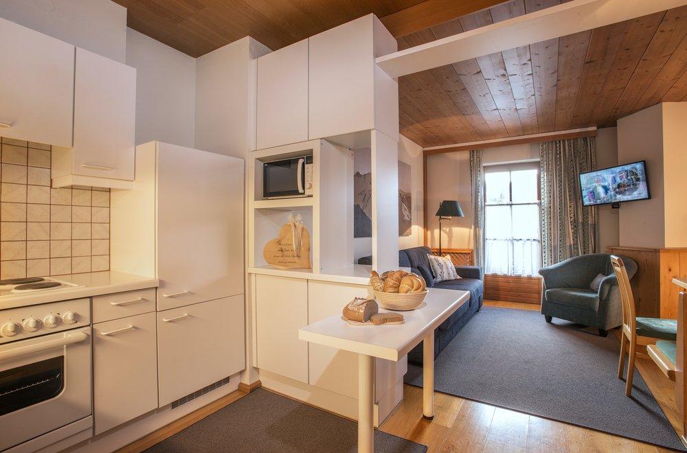 Küche mit Blick auf den Wohnbereich Apartment Enzian