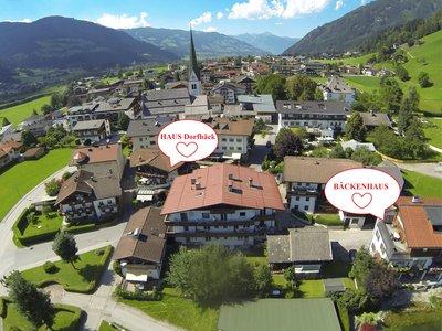 Ansicht von Stumm mit markierten Häusern Dorfbäck und Bäckenhaus