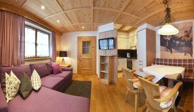 Wohn- und Essbereich mit Blick auf Küche Apartment Gänseblümchen