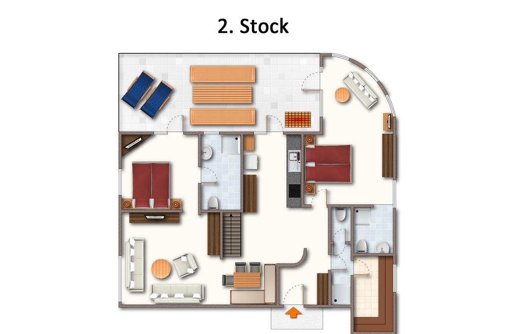 Grundriss Apartment Hochzillertal 2. Stock